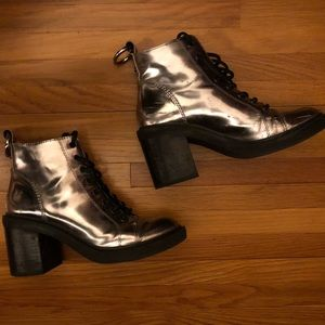 Dolce Vita - Silver Mirrored Look Combat Boots